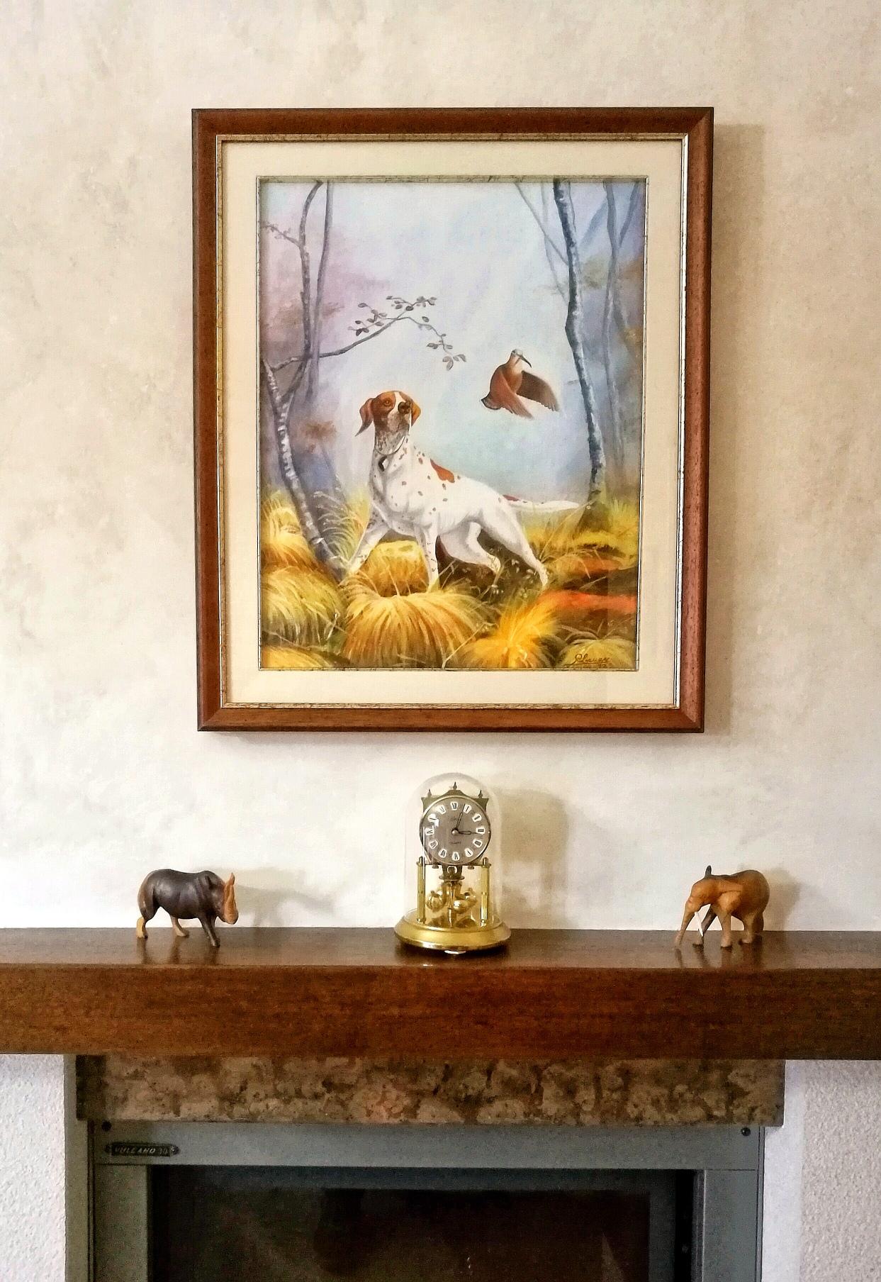 Quadro con Scena di caccia in salotto sopra il camino
