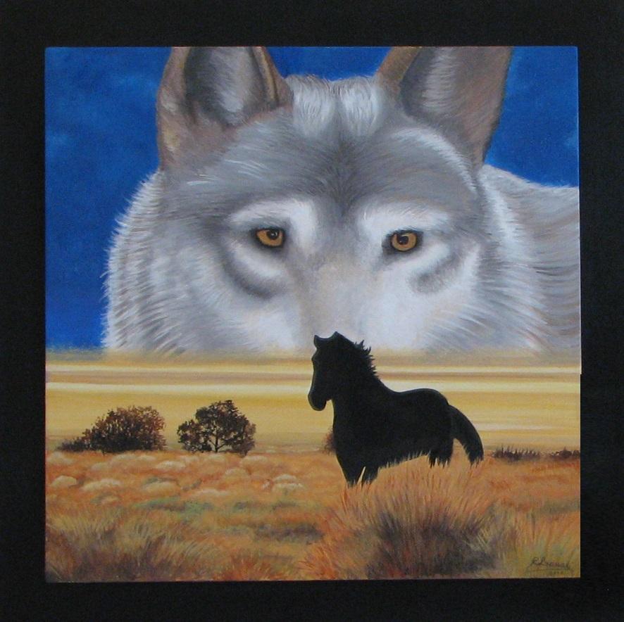 Quadro con lupo e cavallo