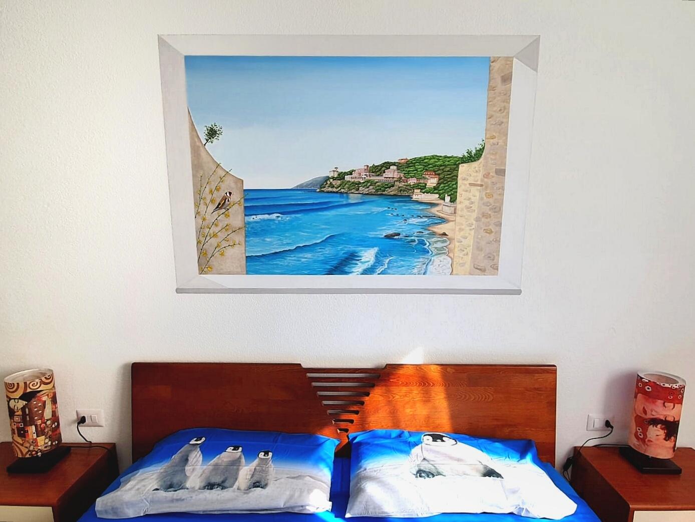 Trompe l'oeil con vista mare dipinto su tela in camera da letto